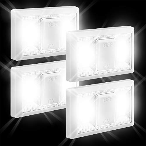 (Fosmon COB LED Closet Light Switch 4 Pack, Under Cabinet Lighting [16 Daylight White LEDs, Magnetic, Battery Operated] for Kitchen Bedroom Bathroom Garage Reading Power Failure Emergency Night Light)