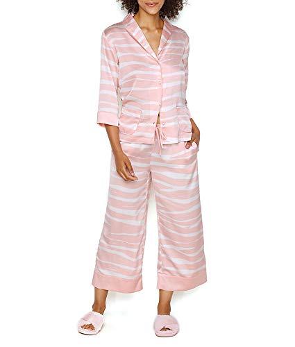 Kate Spade New York Zebra Charmeuse Cropped Pajama Set, L, Pastel Zebra