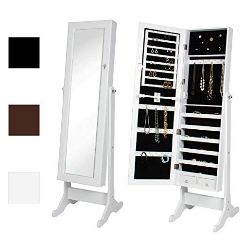 Best Choice Products Mirrored Jewelry Cabinet Armoire w/ Stand Rings, Necklaces, Bracelets - White