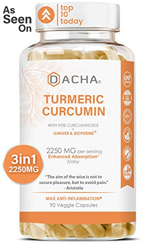 Triple Strength Tumeric Curcumin Supplement – 2250mg Joint Support Supplements Turmeric with Black Pepper Bioperine…