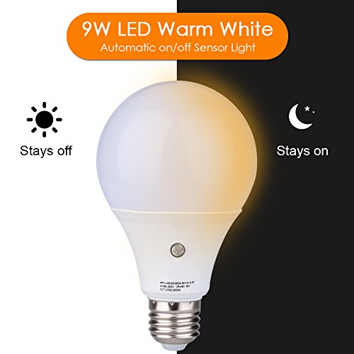 9W Big Size Bulb, E27/E26 810Lumens LED Dusk to Dawn Sensor Light Bulbs 3000K Built-in Photosensor Detection Auto Switch Light Indoor/Outdoor Lighting Lamp for Porch Hallway Patio Garage