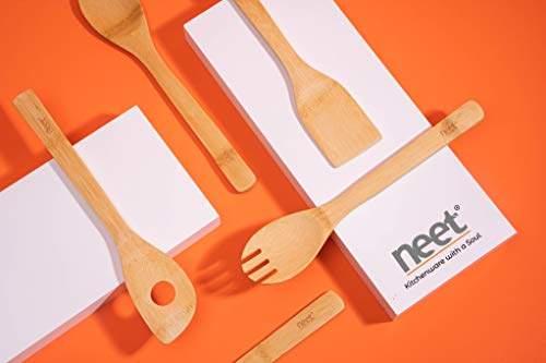 Neet Wooden Spoons For Cooking 6 Piece Organic Bamboo Utensil Set With Holder Wood Kitchen Utensils Spatula Spoon For High Heat Stirring In Nonstick Pots & Pans Quality Gift & Everyday Use