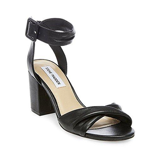 Steve Madden Womens Christen Black Leather Sandal