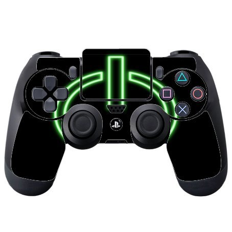 Price comparison product image Neon Green On Button Black Background PS4 DualShock4 Controller Vinyl Decal Sticker Skin by Moonlight Printing