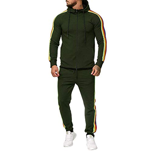 iHHAPY Men's 2PC Sportswear Trainnig Suit Hooded Coat Long Pants Set Sweatshirts Sports Trousers Stripes Tracksuit