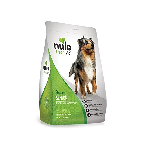 Nulo Senior Grain Free Dog Food with Glucosamine and Chondroitin (Trout and Sweet Potato Recipe, 4.5lb Bag) For Sale