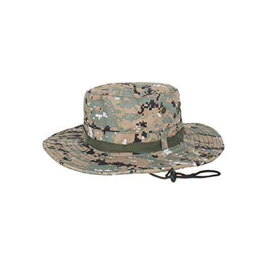(Landscap Summer Outdoor Sun Hat Bucket Mesh Hat Drying Fishing Uv Protection Sun Cap Camouflage Military Hat)