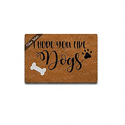 "Tdou Doormat in Here Entrance Floor Mat Funny Doormat Home and Office Decorative Indoor/Outdoor/Kitchen Mat Non-Slip Rubber 23.6""x15.7"""