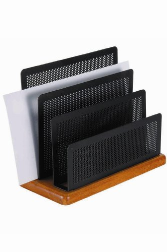 (Rolodex Punched Metal and Wood Mini Desk Sorter, Black and Cherry (Q22731))
