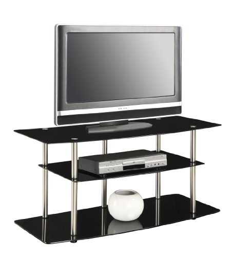 Convenience Concepts Designs2Go Classic Black Glass TV Stand