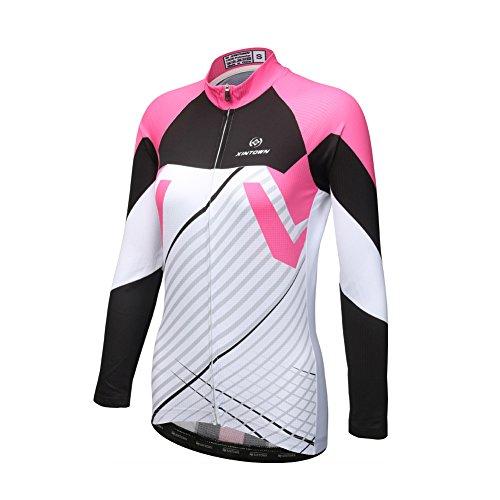 DuShow Women Bike Bicycle Cycling Long Sleeve Jersey Top Shirt (M,Black+Pink) (Sleeve Long Womens Jersey Cycling)