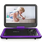 "COOAU 12.5"" Portable DVD Player with HD Swivel Screen, 5 Hours Built-in Rechargeable"