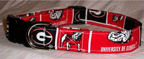 University of Georgia Bulldogs dog collar buckle or martingale with leash set option