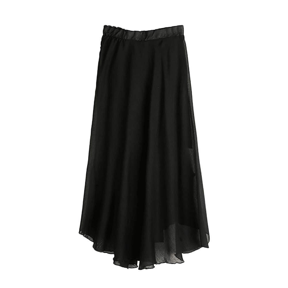 JESPER Women's Bohemian Style Elastic Waist Band Cotton Linen Long Maxi Skirt Dress US 8/10 Black
