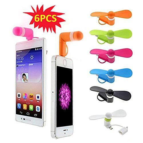Mini Cell Phone Fan - Colorful and Powerful 2-in-1 Fan for iPhone/iPad/Android Smartphone/Tablet - Cell Phone Summer Accessories -6 Colors 6PCS)