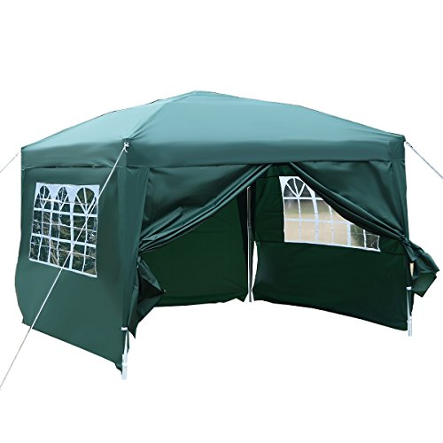 Tangkula 10'X10' EZ POP UP Tent Gazebo Wedding Party Canopy Shelter Carry Bag (Green)