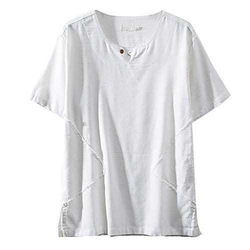 TOPUNDER Fashion Men's Cotton Linen Solid Color Short Sleeve Retro T Shirts Tops Blouse