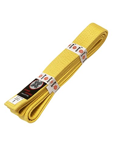 Ronin Brand Martial Arts Uniform Solid Colored Rank Belt - Yellow, Green, Orange, Blue, Purple, Red, Brown, Black in Quality (Yellow, 4)