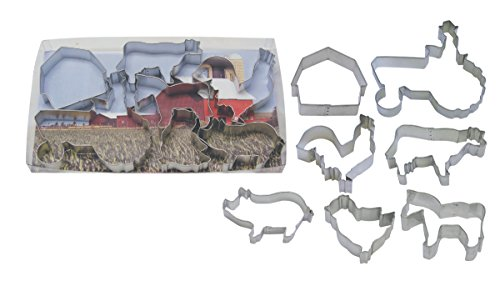 R&M International 1939 Farm Theme Cookie Cutters, Tractor, Cow, Chick, Barn, Rooster, Horse, Pig, 7-Piece Set