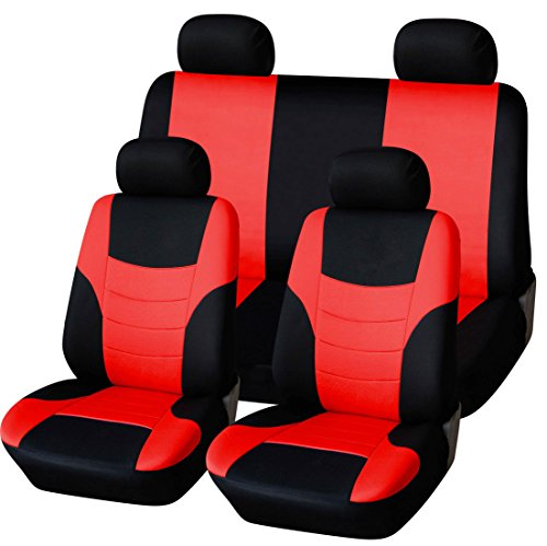 red and blue seat covers car - 2