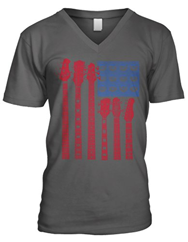 Amdesco Men's Guitar American Flag, USA Guitars V-Neck T-Shirt, Charcoal Grey XL