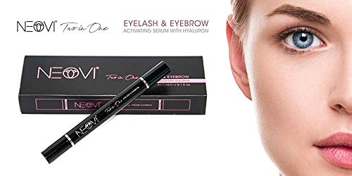 (NEOVI TWO-IN-ONE 6ml Eyelash & Eyebrow Enhancing ACTIVATING SERUM with Hyaluronic Acid For Long, Luscious Lashes & Eyebrows without Hormones & Cruelty Free- Dermatest Rated