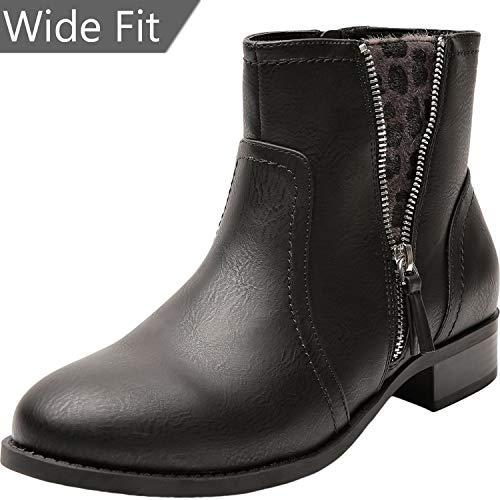 Women's Wide Width Ankle Boots - Low Heel Round Toe Slip on