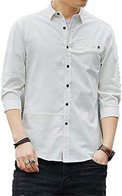 Camisas de vestir para hombre Camisa casual para hombre con cuello de solapa de manga 3/