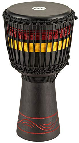 "Meinl Percussion ADJ7-L African Style Fire Rhythm Series Rope Tuned 12"" Wood Djembe, Black"