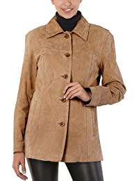 Women's Anna Suede Leather Car Coat (Regular and Plus Size and Short)