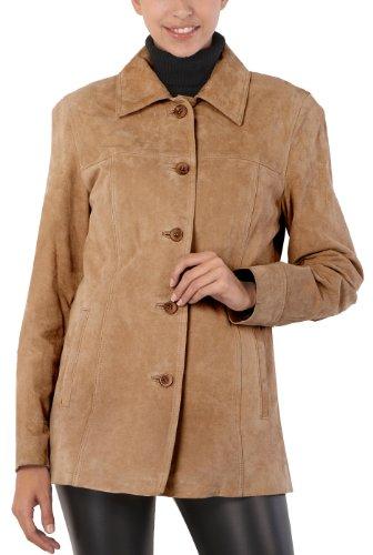 - BGSD Women's Anna Suede Leather Car Coat - L Caramel