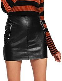 Women's Pocket Zipper Faux Leather Bodycon Short Skirt
