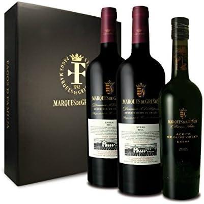 MARQUES DE GRIÑON - Estuche de 2 Botellas de Vino tinto Syrah 2014 y 1 Botella de AOVE Olevm Artis: Amazon.es: Alimentación y bebidas