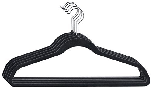 Amiff Clothes hangers Velvet hangers. Premium Quality. Pack of 10 black suit hangers 17.5 inches with chrome hook. Light weight & non slip & slim portable hangers for car & travel. Men & (Money Value T-shirt)
