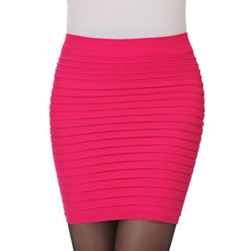 Vif Jupe Jupe Haute Sixcup Moderne Crayon plisse Femme Mini lastique Moulante Solid Jupe Taille Hanche Package Courte Rose qwTZfqgCx