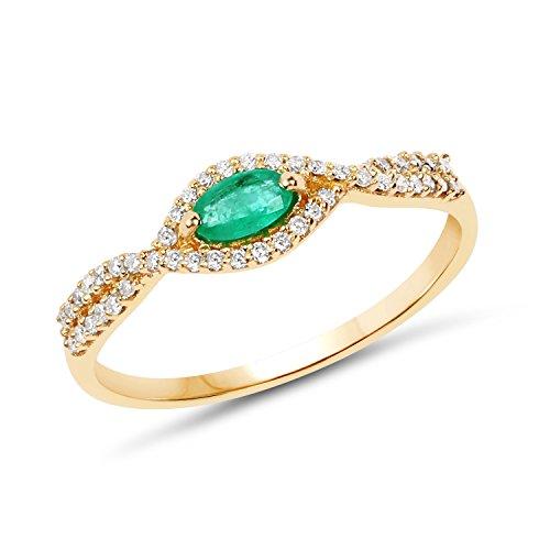 14K Yellow Gold Zambian Emerald & White ...