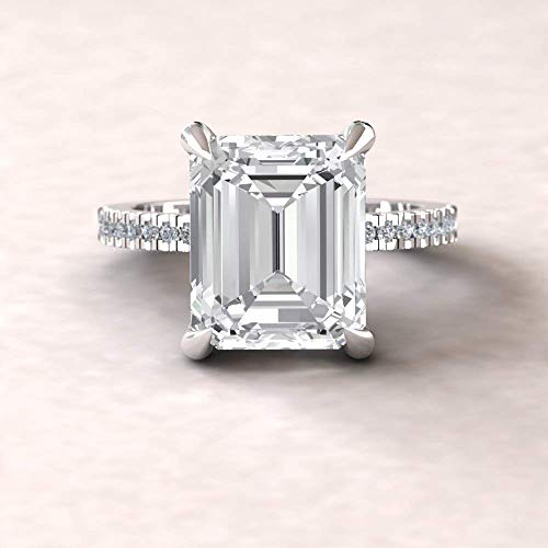 (Forever One Moissanite Engagement Ring- 11x9mm Emerald Solitaire