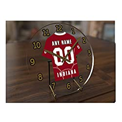 FanPlastic Big Ten College Football - Personalized Desktop Clocks - Size 7 X 7 X 2 - Any Name, Any Number, Any Team !!! (Indiana)