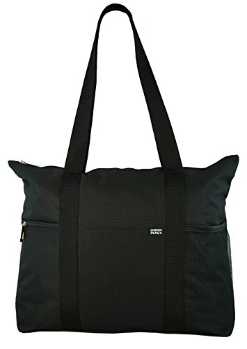 (Shoulder Tote with Multiple Pockets and Zipper Closure, Black )
