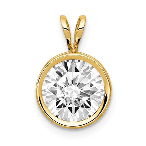 14k Yellow Gold 8mm Cubic Zirconia Bezel Pendant Charm Necklace Gemstone Fine Jewelry For Women Gift Set -