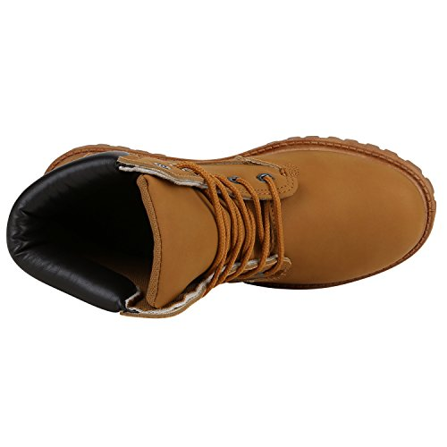 Stiefelparadies Bequeme Damen Stiefeletten Outdoor Worker Boots Flandell Hellbraun Camargo