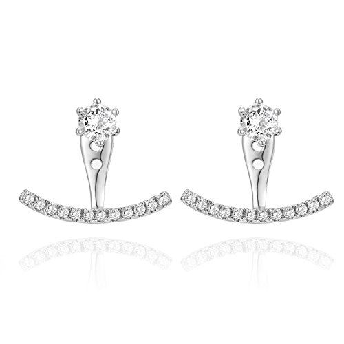 PAVOI 14K White Gold Plated Sterling Silver Post Cubic Zirconia Stud Earrings with Huggie Crawler Enhancer (Silver Sterling Earring Jackets)