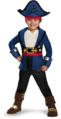 Disguise 85602M Captain Jake Deluxe Costume, Medium (3T-4T) (Jake Toddler Costume)