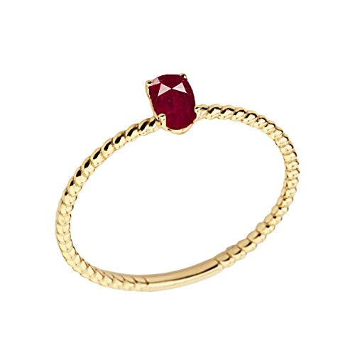 (Dainty 14k Yellow Gold Stackable Oval-Shaped Ruby Rope Engagement/Promise Ring (Size 5))