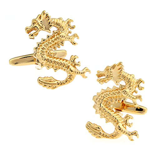 Dragon Link (Gold Chinese Standing Dragon Symbol Cufflinks Shirt Suit Wedding Cuff Links)