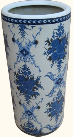 """(18"""" High Rustic Chinese Porcelain Umbrella Stand with Painted Blue & White Pattern.)"""