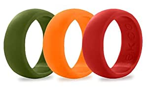 Ekco Band 100% Premium Silicone Wedding Band - High Performance Men's Silicone Wedding Ring (3 PACK - COLORS, 8)