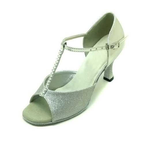 Ladies Latin thin T With dance beads Colorfulworldstore of of EU36~EU41 silver fonts shoes Silver a flash fqPIxvwC