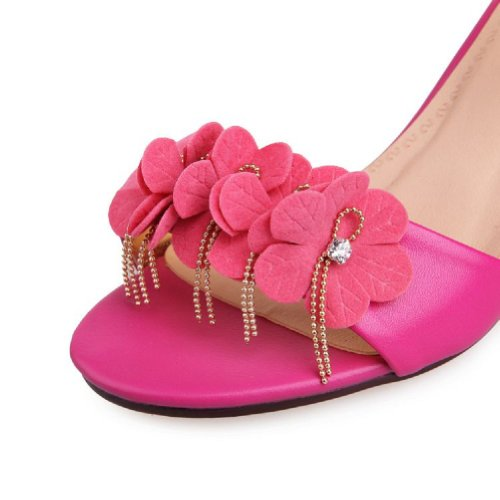 Carol Shoes Fashion Applique Womens Mid Heel Open Toe Sandals Rose Red RGOyKGBpo
