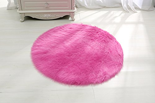 RugMall Faux Fur Shaggy Rug 3 Feet 3 Inch Round Pink